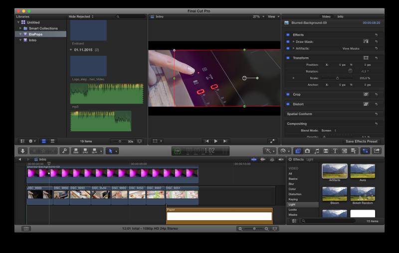 Videoschnitt mit Final Cut Pro X